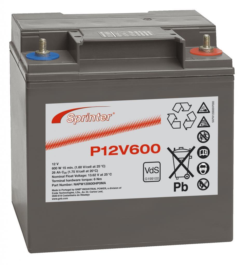 P12V600 Exide wartungsfr. AGM Bleibatterie